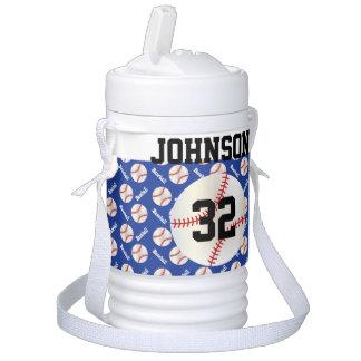 Nombre y número azul marino del béisbol el   DIY Vaso Enfriador Igloo