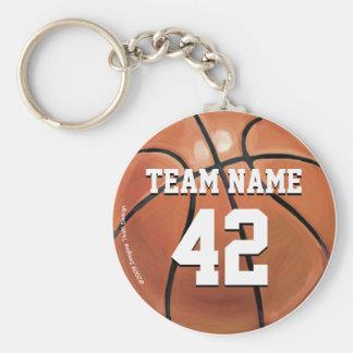 Nombre y número del equipo de baloncesto llaveros personalizados