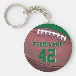 Nombre y número del equipo de fútbol llaveros personalizados