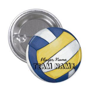 Nombre y número del equipo del voleibol pin redondo de 1 pulgada