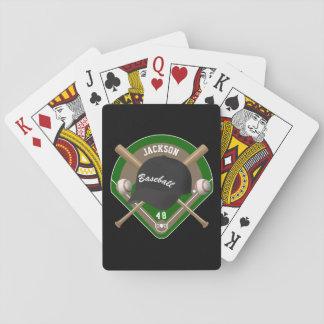 Nombre y número negros del jugador del diamante de barajas de cartas