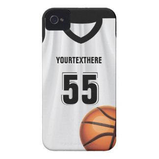 Nombre y número negros del vestido del baloncesto iPhone 4 Case-Mate carcasas