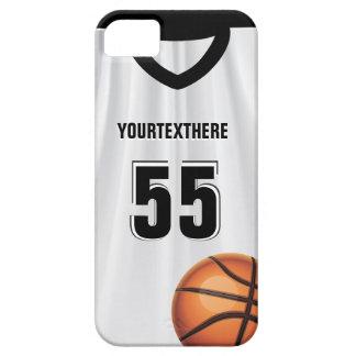 Nombre y número negros del vestido del baloncesto iPhone 5 carcasa