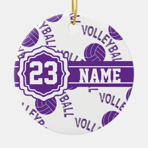 Nombre y número púrpuras del voleibol el | DIY Adorno Redondo De Cerámica
