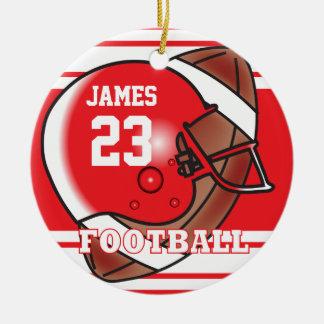 Nombre y número rojos y blancos del fútbol el | adorno navideño redondo de cerámica