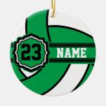 Nombre y número verdes del voleibol el | DIY Adorno Navideño Redondo De Cerámica