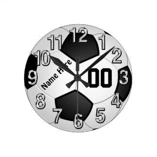NOMBRE y relojes de pared del fútbol del NÚMERO