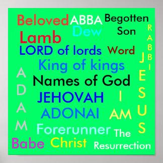 Nombres de dios, hijo querido, engendrado, bebé,… póster