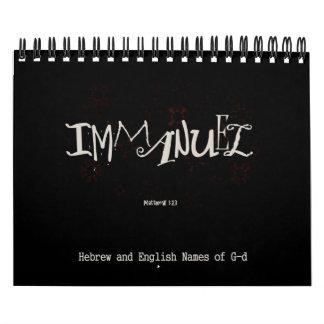 Nombres de G-d en hebreo e inglés Calendario