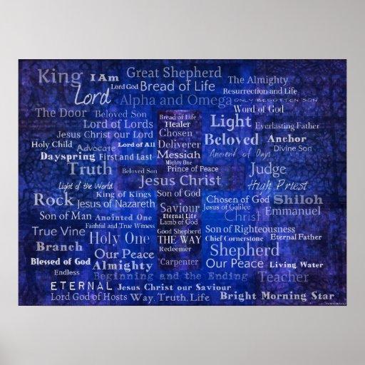 Nombres de Jesús - arte cristiano contemporáneo Poster