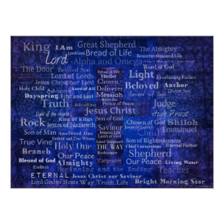 Nombres de Jesús - arte cristiano contemporáneo Póster