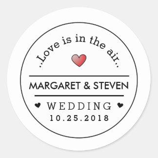 Nombres del boda blanco negro y corazón de encargo pegatina redonda