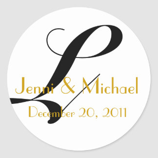 Nombres del boda y monograma L oro de la fecha del Pegatina Redonda