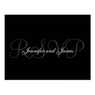 Nombres del monograma del boda de la postal de RSV