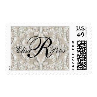 Nombres del monograma en sello del boda del cordón