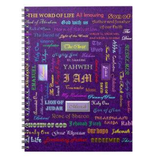 Nombres del notebood de dios libro de apuntes con espiral