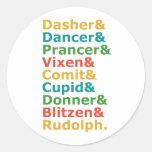 Nombres del reno etiquetas redondas