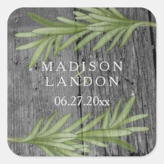 Nombres herbarios del boda de las puntillas de pegatina cuadrada