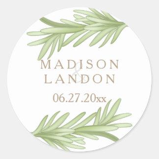 Nombres herbarios del boda de las puntillas de pegatina redonda