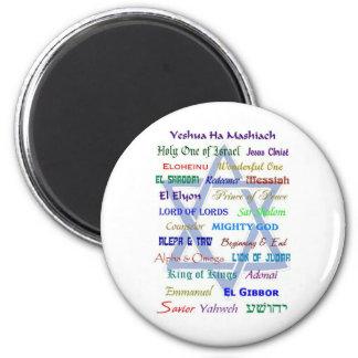 Nombres mesiánicos imán redondo 5 cm