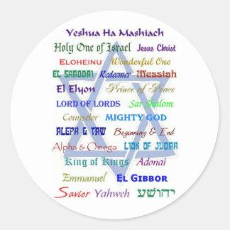 Nombres mesiánicos pegatina redonda