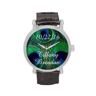 Nombres personalizados/reloj de la pluma del pavo reloj