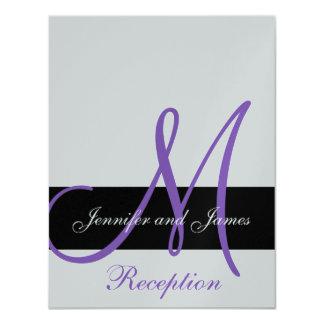 """Nombres púrpuras del monograma de la recepción invitación 4.25"""" x 5.5"""""""