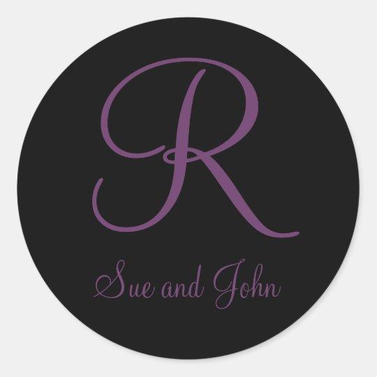 Nombres y monograma de color de malva inicial R Pegatina Redonda