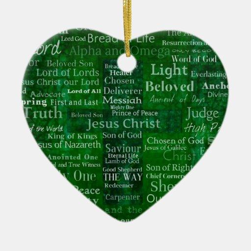 Nombres y títulos de Jesús con la cruz verde Adorno De Reyes