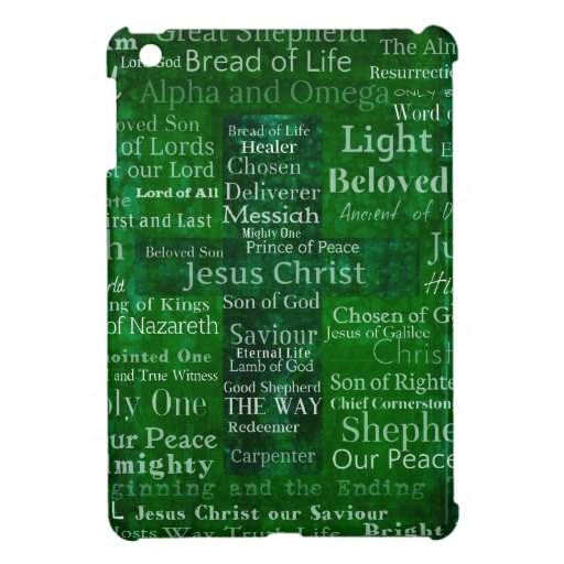 Nombres y títulos de Jesús con la cruz verde iPad Mini Carcasas