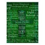 Nombres y títulos de Jesús con la cruz verde Plantillas De Membrete