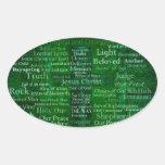 Nombres y títulos de Jesús con la cruz verde Calcomanías Ovales