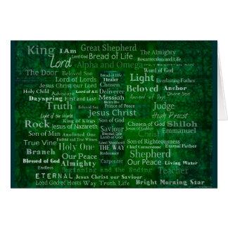 Nombres y títulos de Jesús con la cruz verde Tarjeta
