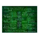 Nombres y títulos de Jesús con la cruz verde Tarjeta Postal