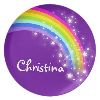 """""""Nombró"""" el arco iris los chicas rosados púrpuras Platos"""