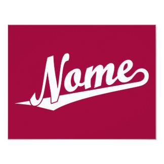 Nome script logo in white card