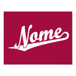 Nome script logo in white distressed personalized announcements