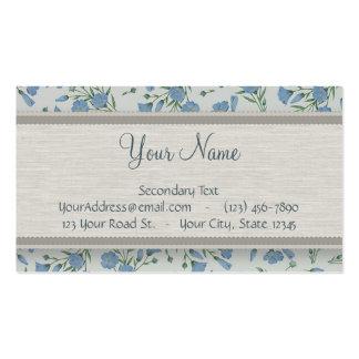 Nomeolvides azul floral y de mármol con el monogra tarjetas de visita