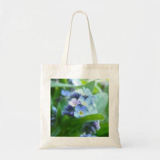 Nomeolvides azules frescas bolsa lienzo