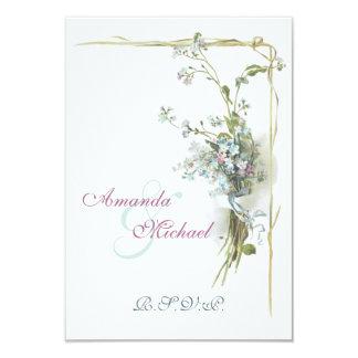 Nomeolvides azules y rosadas invitación 8,9 x 12,7 cm