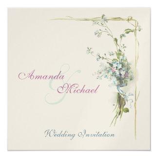 Nomeolvides azules y rosadas invitación 13,3 cm x 13,3cm