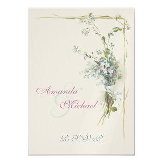 Nomeolvides azules y rosadas invitación 11,4 x 15,8 cm