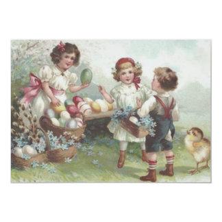 """Nomeolvides coloreada polluelo del algodón del invitación 5"""" x 7"""""""