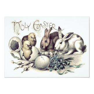 """Nomeolvides del conejito del huevo del polluelo de invitación 5"""" x 7"""""""