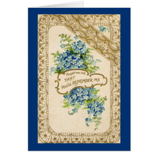 Nomeolvides del vintage tarjeta de felicitación