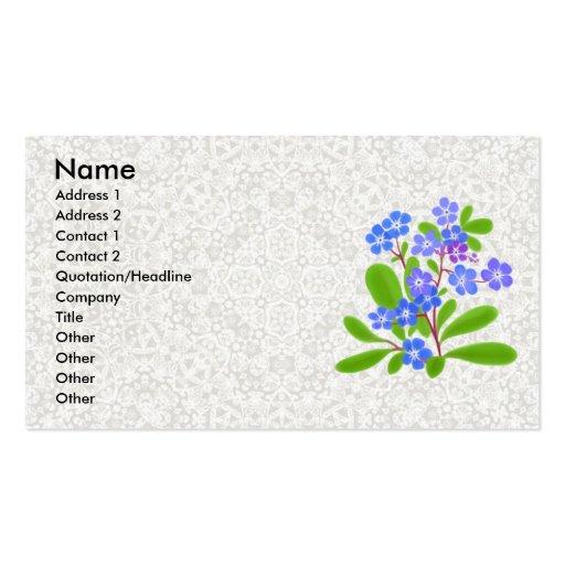Nomeolvides y tarjeta del perfil del cordón tarjetas de visita