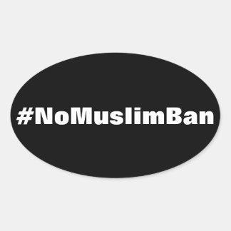 #NoMuslimBan, white text on black stickers