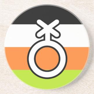 NON-BINARY FLAG AND SYMBOL COASTER