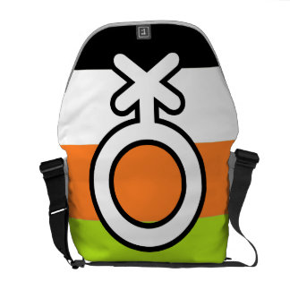 NON-BINARY FLAG AND SYMBOL COURIER BAGS