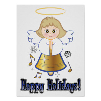 Non-Denominational Happy Holidays Bell Angel Music Poster